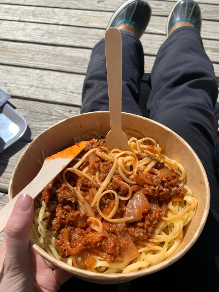 The reward for my ski tour, Spaghetti Bolgnese in the sun